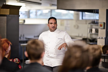 Michael Caines talking to Academy students